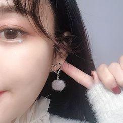 Wilma - 925 Sterling Silver Pom Pom Drop Earring