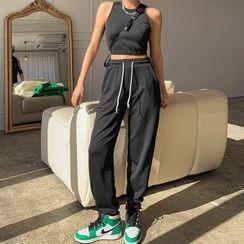 LIPHOP - Sports Set: Banded-Hem Sleeveless Crop Top + Jogger Pants
