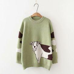 PANDAGO - Cow Print Sweater