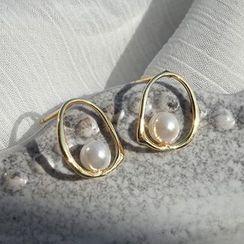 Covette - 925 Sterling Silver Pearl Accent Hoop Earrings