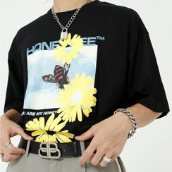 DragonRoad - Floral Bee Printed Short-Sleeve T-Shirt