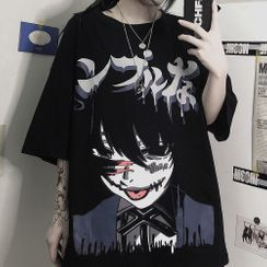 Banash - Cartoon Print Elbow-Sleeve T-Shirt