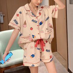 Endormi - Pajama Set: Short-Sleeve Ice Cream Print Top + Shorts
