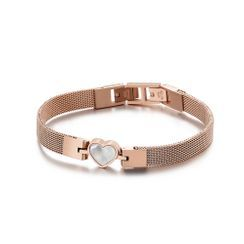 BELEC - Simple and Romantic Plated Rose Gold Shell Heart-shaped 316L Stainless Steel Bracelet