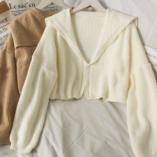 Lemongrass - Two-Button Sailor-Collar Loose Crop Cardigan