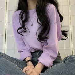 AQUI - 圆领纯色长袖上衣