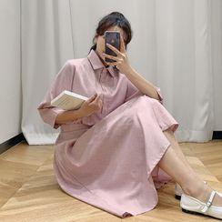 HOTPING - Mock Two-Piece Long Shirtdress