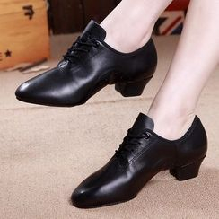 Danceon - Genuine Leather Block-Heel Lace-Up Shoes