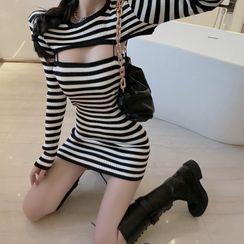 STARK - 条纹针织上衣 + 吊带迷你塑身连衣裙