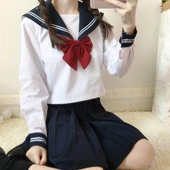 Snow Goose - 短袖水手領襯衫 / 純色襯衫 / 蝴蝶結領 / 襪子 / 打褶襉A字裙 / 套裝