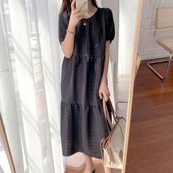 Ashlee - Puff-Sleeve Plain Midi Dress