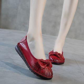 Kayne H - 真皮饰蝴蝶结平跟鞋