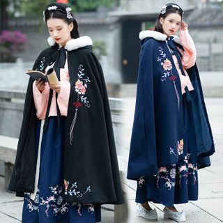 Tangier - Flower Embroidered Furry Trim Hooded Cape