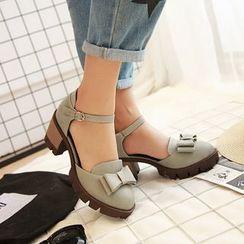 Shoes Galore - Ankle Strap Bow Pumps