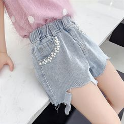Qin Qin - Kids Faux Pearl Ripped Denim Shorts