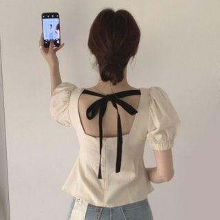 Bakli - Puff Short-Sleeve Lace-Up Back Square-Neck Shirt