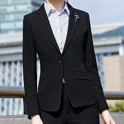 Princess Min - Couple Matching Slim Fit Blazer/ Dress Pants/ Single-Breasted Vest/ Mini Pencil Skirt/ Pinstripe Long-Sleeve Shirt