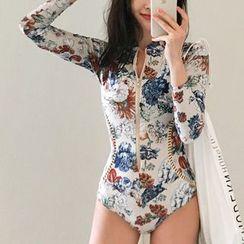 Tefiti - Floral Print Long-Sleeve Swimsuit