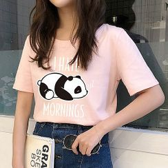 Manki - Panda Print Short-Sleeve T-Shirt