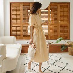 JUSTONE - Puff-Sleeve Tie-Side Long Dress