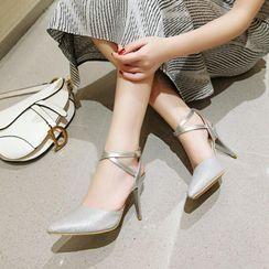Martha - Ankle Strap Kitten-Heel Sandals
