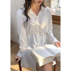 chuu - Soft-Touch Shirtdress with Sash