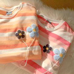 PUYE - Short-Sleeve Flower Striped Top
