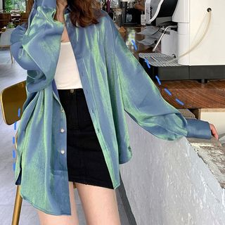 JOWI - Camisa iridiscente de manga larga
