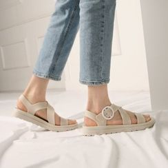 Wifky - Buckled Cross-Strap Slide Sandals