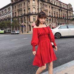 Fancy Show - Off-Shoulder Long-Sleeve A-Line Dress