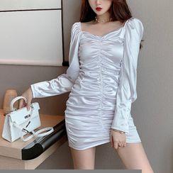 Kabanza - Long-Sleeve Crinkled Mini Sheath Dress