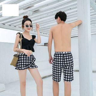 Hipper - Couple Matching Plaid Swim Trunks / Bikini Top with Swim Skort