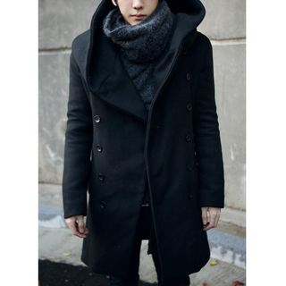 Bay Go Mall - Hooded Double-Breasted Coat