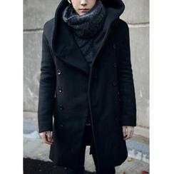 百高 - 連帽雙排扣大衣