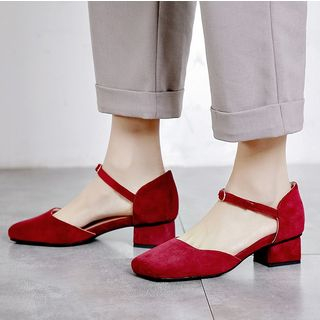 Freesia(フリージア) - Faux Suede Square Toe Mid-Heel Pumps