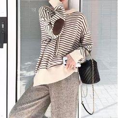 Doyle - 條紋寬鬆連帽衫/寬腿褲