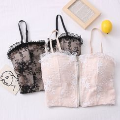 Babique - Flower-Embroidered Lace Bustier Top