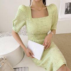 DABAGIRL - Square-Neck Tweed Sheath Dress