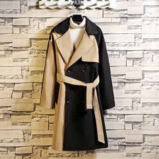 Andrei(アンドレイ) - Color Block Double-Breasted  Trench Coat