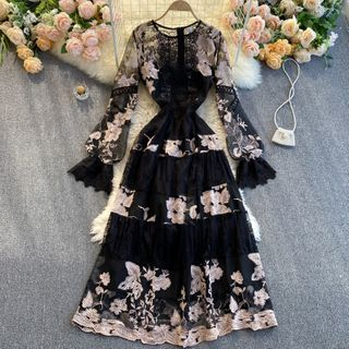 Lucuna - Long-Sleeve Floral Embroidered Maxi A-Line Dress
