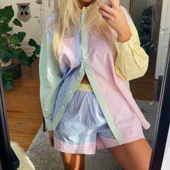 HITANO - Color Block Striped Shirt / Shorts