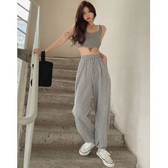 ever after - Mock Two-Piece Crop Tank Top / Loose-Fit Sweatpants
