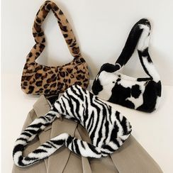FAYLE - Animal Print Fluffy Shoulder Bag
