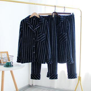 Somnus - Couple Matching Pajama Set: Striped Shirt + Pants