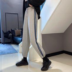 Guajillo - High-Waist Drawstring Striped Sweatpants