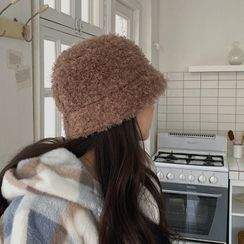 MERONGSHOP - Furry Bouclé-Knit Bucket Hat
