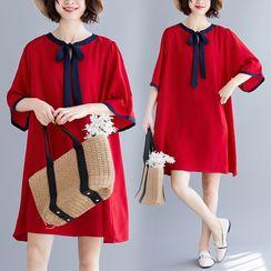 RAIN DEER - Plain Bow Semi Sleeve Dress