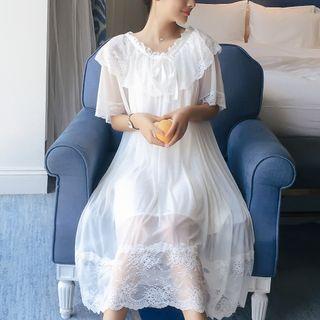 Almilo - Short-Sleeve Lace-Trim Midi Sleep Dress