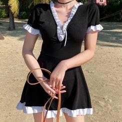 ASUMM - Set: Short-Sleeve Contrast Trim Swim Dress + Shorts