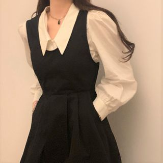 Zepto - Puff-Sleeve Shirt / Midi Overall Dress